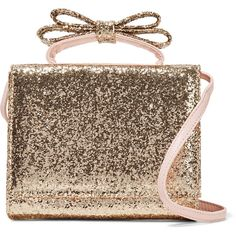 REDValentino Bow-embellished glittered leather shoulder bag ($298) ❤ liked on Polyvore featuring bags, handbags, shoulder bags, gold, glitter purse, genuine leather purse, brown leather purse, brown purse and top handle handbags