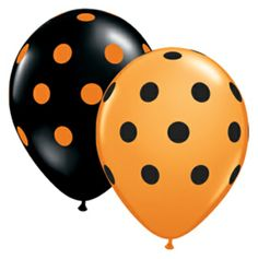 Black/Orange Polka Dot Balloons! 11 Inch  bakeitpictureperfect.com