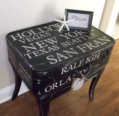 Another one of my one-of-a-kind suitcase table. . Check out our Facebook page, Refined and Designed.