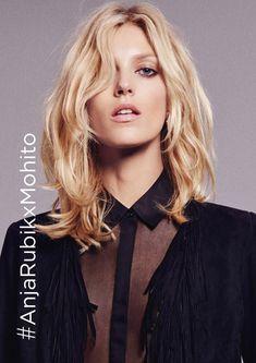 Anja Rubik x Mohito by Paola Kudacki Anja Rubik, Paola Kudacki, Mid Length Hair, Model Look, Dream Hair, Long Bob, Layered Hair, Messy Hairstyles, Cut And Style