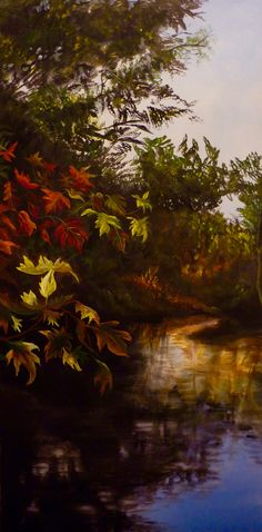 """Autumn Afternoon"", acrylic on canvas,framed, 45 cm x 91 cm. $700 by Cathy Yarwood-Mahy Canvas Frame, Paintings, Autumn, Abstract, Artist, Artwork, Summary, Work Of Art, Paint"