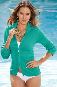 Best-selling two-way zip-front sweater cardigan with ribbed sleeves, hem and sides. Rhinestone detail on zipper.