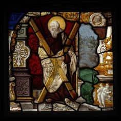 A German stained-glass panel painted by Gerhard Remisch, 1533, depicting St Andrew with his symbolic attribute, a saltire cross. (Victoria & Albert Museum)
