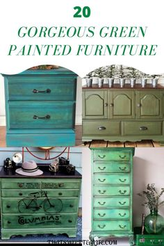 You will find some of the most GORGEOUS Green Painted Furniture Pieces in this collection from deep greens, to bright greens, even soft shades of olive green. Plus, there are DIY tutorials for these furniture pieces! #thatsweettealife #diypaintedfurniture #diygreenpaintedfurniture #greenpaintedfurniture Eclectic Furniture, Green Furniture, Cottage Furniture, Colorful Furniture, Shabby Chic Furniture, Pipe Furniture, Furniture Vintage, Eclectic Decor, Diy Furniture Projects