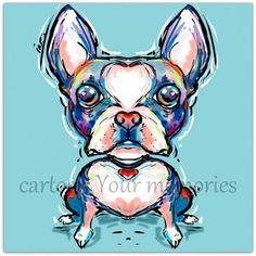 My little Boston Terrier  art print by CartoonYourMemories on Etsy