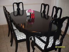 Dining Room Table & Chairs Make-Over for less than $100..amazing the things that can be done with second time around furniture!
