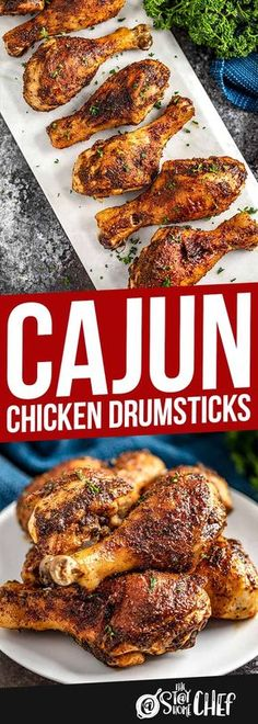 Cajun Chicken Drumsticks 5 minutes of prep time is all that's needed to make these crispy-skinned Cajun Chicken Drumsticks. This recipe is always popular! Cajun Recipes, Chef Recipes, Dinner Recipes, Cooking Recipes, Healthy Recipes, Crockpot Recipes, Chicken Leg Recipes, Chicken Drumstick Recipes, Turkey Recipes