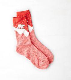 Red AEO Polar Bear Crew Sock