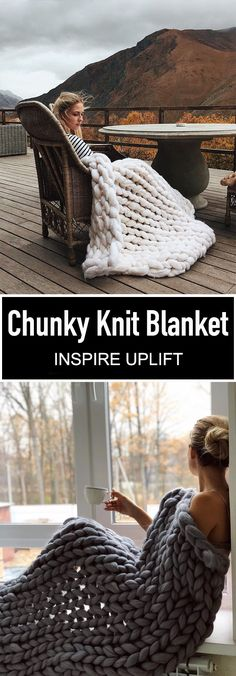 Handmade Chunky Knit Blanket - ⭐⭐⭐⭐⭐ Stars) This luxuriously beautiful Handmade Chunky Knit Blanket definitely creates a decorative impact when showcased in any bedroom or living room! Its super-chunky knit makes it a stylish yet neutral statement p Chunky Knit Decke, Knitting Projects, Crochet Projects, Camping Blanket, Chunky Blanket, Arm Knitting, Knitted Blankets, Knit Crochet, Crochet Patterns