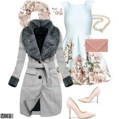 romantické-šaty-kvetinová-potlač-sivý-šedý-kabát-perlový-náhrdelník-náušnice-lodičky