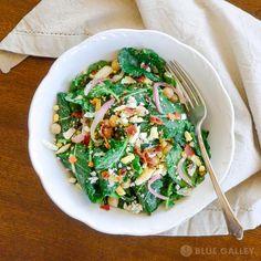 Baby Kale Salad with Avocado Green Goddess Dressing