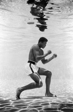 Iconic image of Muhammad Ali Training Underwater