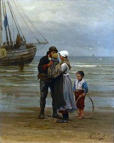 "Women ⚓ of salt air⊰⛵ . ""The Farewell"" Philippe Lodowyck Jacob Sadee Paintings I Love, Beautiful Paintings, Art Ancien, Nautical Art, Dutch Painters, Dutch Artists, Am Meer, Fine Art, Oeuvre D'art"