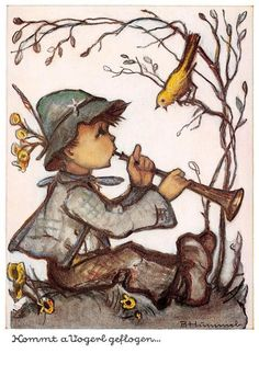 "Vintage Unused Greeting Cards ARS Sacra Hummel ""THE Trumpet BOY""1451"" | eBay"