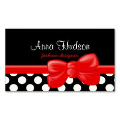 Hello my name is red business card feelings my name and retro polka dots spots dotted pattern white black business card fbccfo Gallery