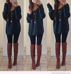 Sweater, pants and brown boots