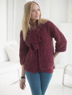 Seed Stitch Cardi With Scarf (Knit) - Patterns - Lion Brand Yarn Knitting Patterns Free, Free Knitting, Free Pattern, Knit Patterns, Beginner Knitting, Knit Jacket, Knit Cardigan, Scarf Knit, Knit Sweaters
