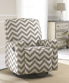 A Chevron glider rocker that reclines! Oh my! I need this! This Truffle Chevron Gliding Recliner is perfect! #zulilyfinds