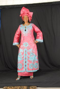 Gorgeous pink african brocade maxi dress with matching embroidery - Thumbnail 5 African Fashion Ankara, Latest African Fashion Dresses, African Print Fashion, African Wear, African Women, African Dress, African Style, African Outfits, African Clothes