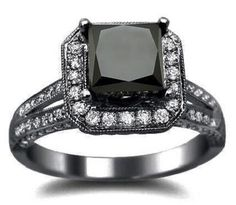 Front Jewelers Princess Cut Black Diamond Engagement Ring Black Gold Rhodium Plating Over White Gold with a Center Diamond and of Surrounding Diamonds Engagement Solitaire, Silver Engagement Rings, Perfect Engagement Ring, Solitaire Ring, Black Diamond Wedding Rings, Black Diamond Engagement, Gold Ring, Silver Ring, Black Gold Jewelry