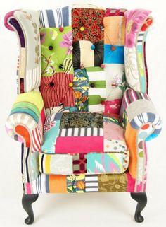 chair, accent chair, wingback chair, wingback, accent, home, home decor, patchwork, patchwork chair, colorful chair,
