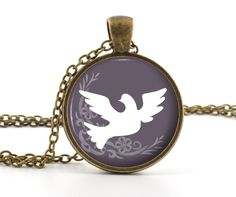 Dove Necklace - Dove Pendant - Antique Style Christian Symbol Dove Art and Gift Bag - Christian Jewelry. $13.95, via Etsy.