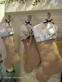 Different...burlap christmas stockings, love the letters by lesley