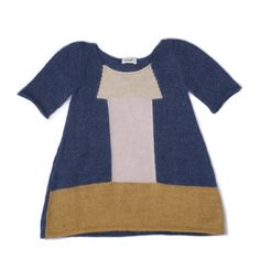 ZOE DRESS by Oeuf (1-4 years Blue/Mustard)