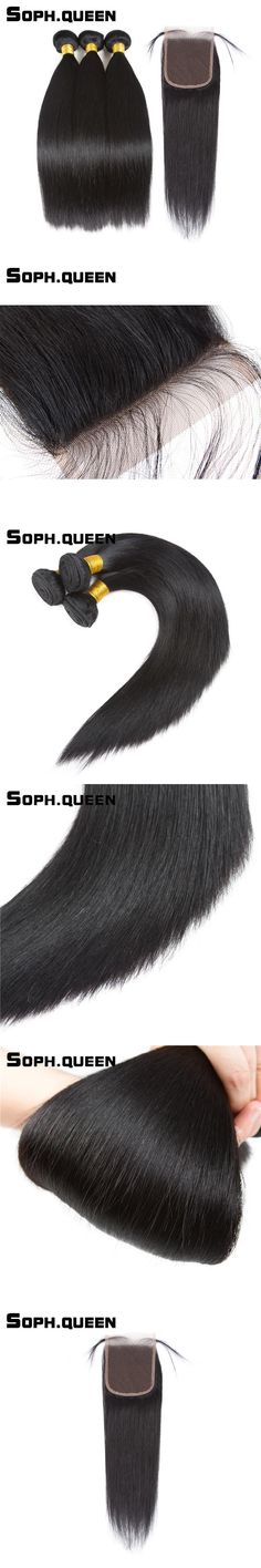 Soph queen Hair Straight Wave Bundles With Closure Malaysian Remy Hair Extension Natural Black Pelo Human Hair