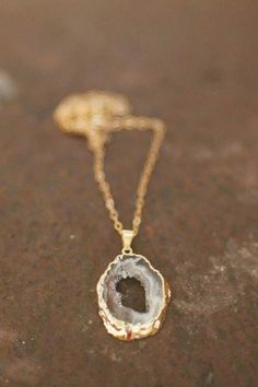 golden wrapped agate stone necklace | Lisa Leonard Designs $39