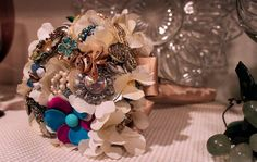 Brooch bouquet with my grandmothers jewelry.