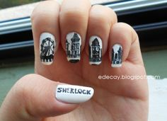 sherlock nails | Black: Black by Santee & Liquid Leather by OPI