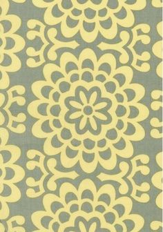 Amy Butler Lotus Wallflower fabric in grey + yellow for bedding...LOVE this print