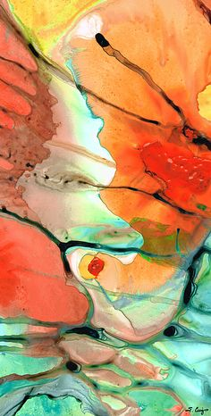 #abstractart #modernart Red Abstract Art - Decadence - Sharon Cummings by Sharon Cummings