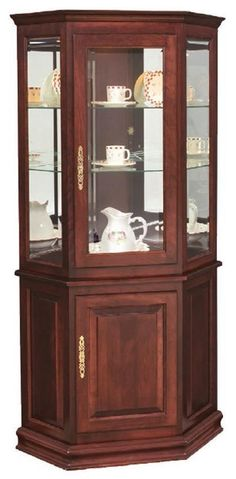 Small Corner cabinet - Hardwood Corner Curio Cabinet with Enclosed Base Dining Room Storage, Glass Cabinet Doors, Crockery Cabinet, Living Furniture, Crockery Unit Design, Corner Cabinet Dining Room, Corner Furniture, Corner Curio, Dining Room Corner
