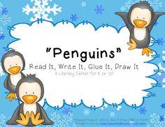 """Penguins"" Read It, Write It, Glue It, Draw It...Great Literacy Center for K or 1st!"