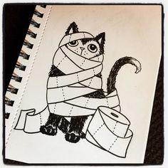 #Drawlloween2016 Day Three. Theme: #mummymonday . . . #earthenwood #drawlloween #creepycute #sketchbook #drawing #sketch #spoopy #artist #deadthings #horrornerd #spooky #sketching #draw #ink #horror #horrorart #creepy #cat #catmummy #mummy #toiletpaper