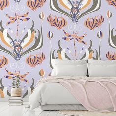Elegant, nostalgic yet modern, this beautiful Dance of the Dragonflies wallpaper, designed by Rebecca Johnstone, is the perfect Art Nouveau-inspired feature wall for any room. Ideal for a calming bedroom or lounge, choose décor that relishes in colours that are used within the design: orange, peach, grey and lilac. Imagine a velvet, purple sofa and surrounding white painted walls – gorgeous! Discover more from this stunning collection at Wallsauce! #wallpaper #homedecor