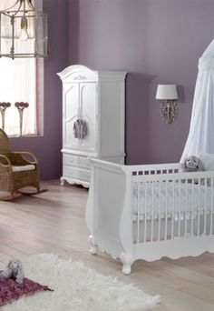 Light purple, and white - love the bleached wood floor.