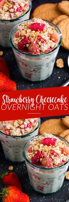 These Strawberry Cheesecake Overnight Oats are super easy to throw together and become the most amazing, creamy, fruit filled breakfast. All the flavours of cheesecake in a healthy breakfast!