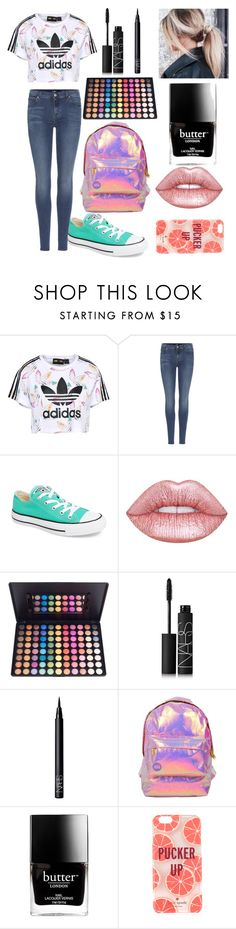 """Untitled #21"" by theimperfect-perfection ❤ liked on Polyvore featuring adidas Originals, 7 For All Mankind, Converse, Lime Crime, NARS Cosmetics, Miss Selfridge, Butter London, Kate Spade and school"