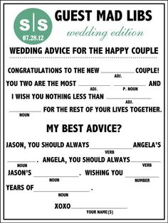 Fun Unique Wedding Mad Libs The Perfect Guest Book Alternative!