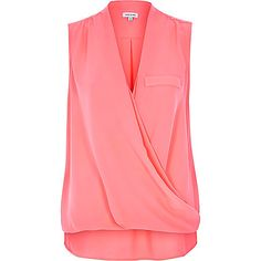 Coral wrap front sleeveless blouse