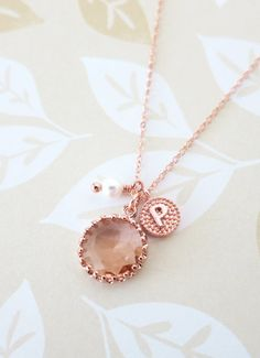 Personalised Rose Gold Champagne Glass drop Necklace - initial letter www.colormemissy.com