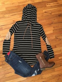 Black Striped Hooded Tunic