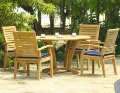 Douglas Nance Cayman Dining Set. Shop at atlanticpatio.com #atlanticpatio #Cayman #DouglasNance #teak #patio #furniture #patiofurniture #outdoor #dining #armchair #table