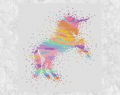 Cross stitch pattern PDF of a magical watercolour style unicorn in rainbow pastel colours. • Stitch count: 101 wide x 109 high • Approximate size on 14 count aida: 7.2in wide x 7.8in high (18.3cm wide x 19.8cm high) • 13 colours, DMC numbers given • Uses full cross stitches; no