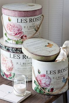 Divine and Delectable Hat Boxes! DIY:: Vintage French Shabby Storage created with mod Podge Tutorial ! Decoupage Vintage, Decoupage Box, Vintage Shabby Chic, Vintage Style, Vintage Hat Boxes, Rose Hat, Pretty Box, Altered Boxes, Rose Cottage