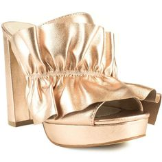 Shellys London Delphanie Ruffle High Heel Mules ($92) ❤ liked on Polyvore featuring shoes, platform shoes, high heel shoes, open toe sandals, open toe mule sandals and high heel mules