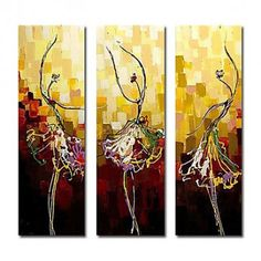 Home Decor - Wall Art - Oil Paintings - Abstract Paintings - Hand-painted Abstract Oil Painting with Stretched Frame - Set of 3 Modern Oil Painting, Oil Painting Abstract, House Painting, Painting & Drawing, Ballet Painting, Oil Paintings, Modern Canvas Art, Abstract Canvas Art, Oil Paint Set